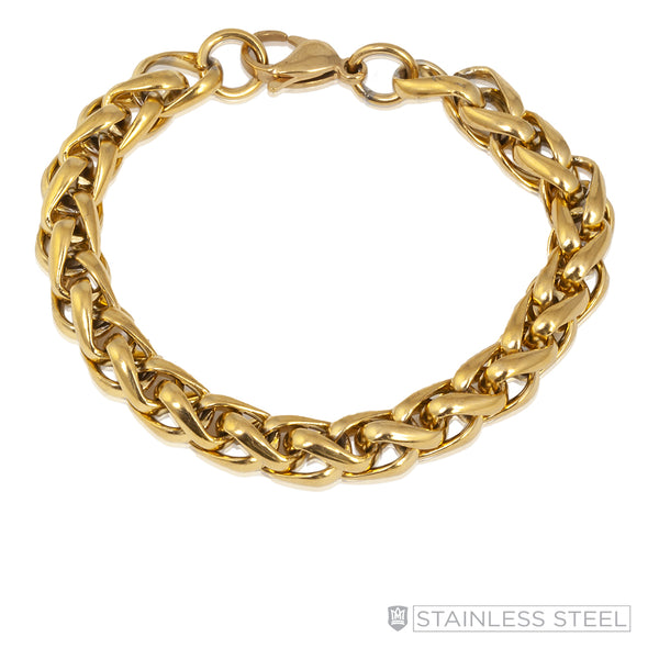 Large Modern Foxtail Gold Fused Stainless Steel Bracelet