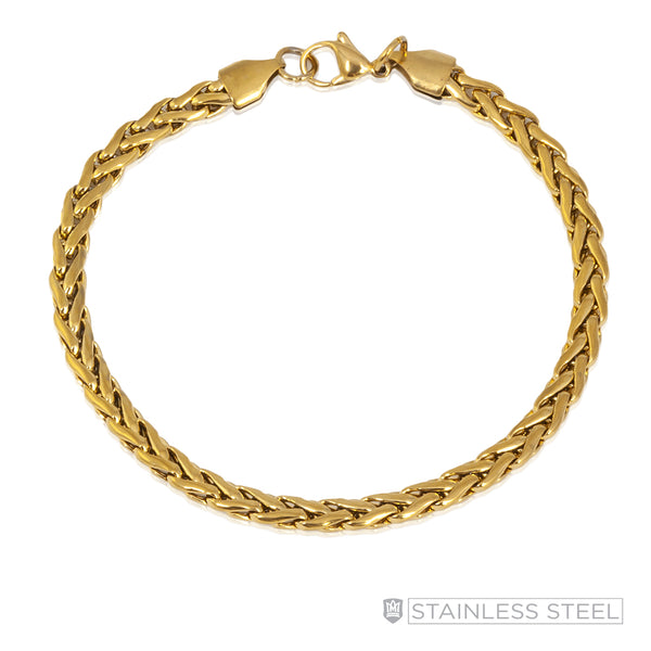 Milled Flat Foxtail Gold Fused Stainless Steel Bracelet