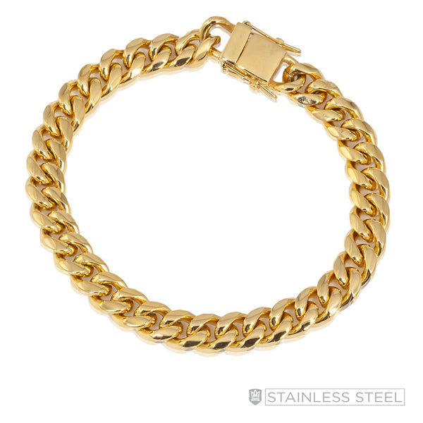 Curb Gold Fused Stainless Steel Bracelet