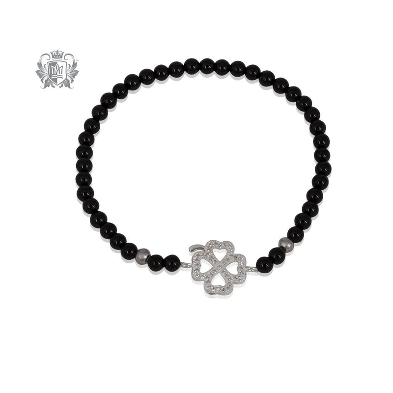 Lucky Clover Friendship Bracelet Black Onyx Sterling Silver