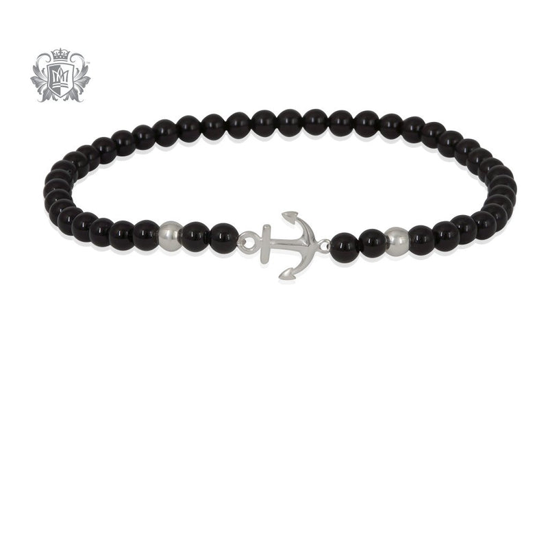Black Onyx Anchor Friendship Bracelet