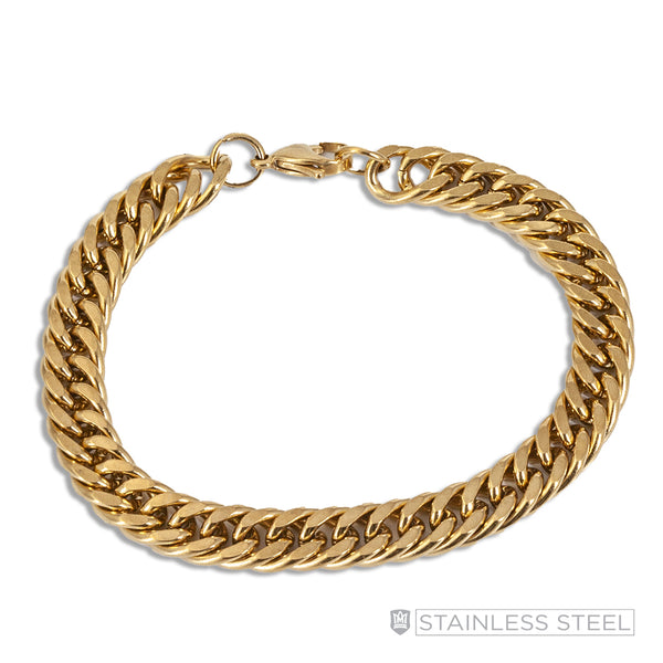 Gold Fused Stainless Steel Curb Bracelet