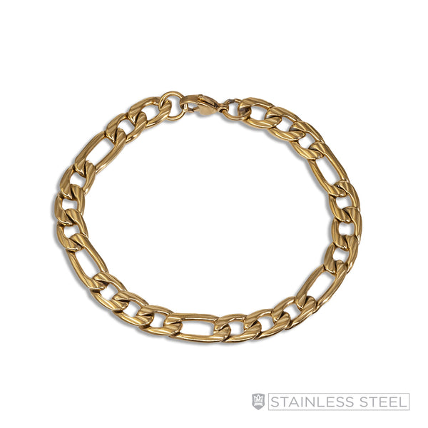 Gold Fused Stainless Steel Figaro Bracelet