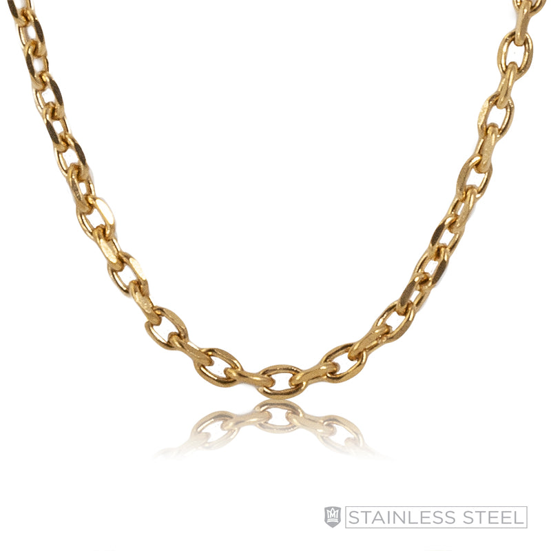Gold Fused Stainless Steel Diamond Cut Rope Chain