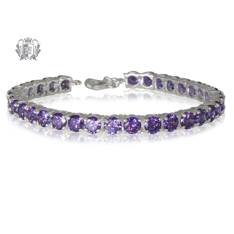 Amethyst Cubic Prong Set Gemstone Tennis Bracelet Sterling Silver