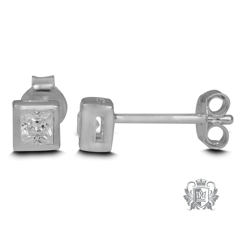 Square Bezel Set Stud Earrings - Metalsmiths Sterling'Ñ¢ Canada