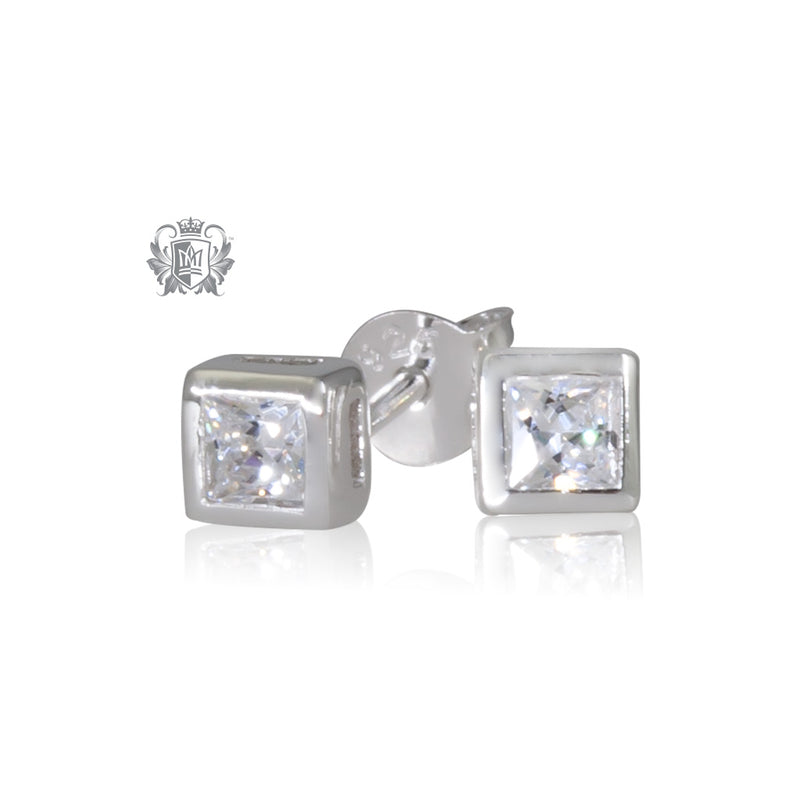 Square Bezel Set Stud Earrings