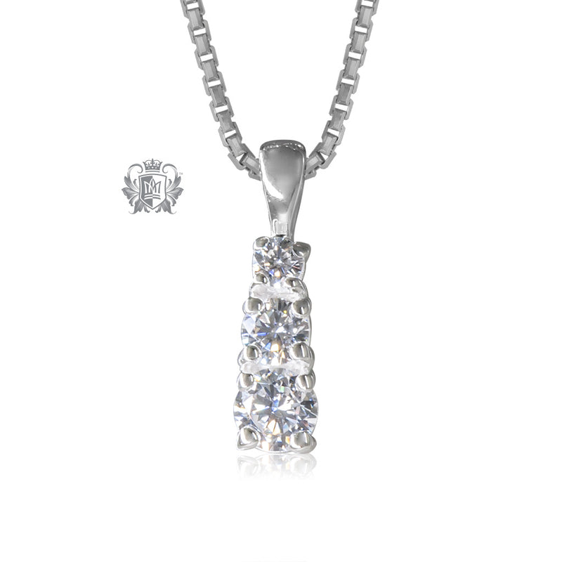 Prong Set Triple Cubic Pendant