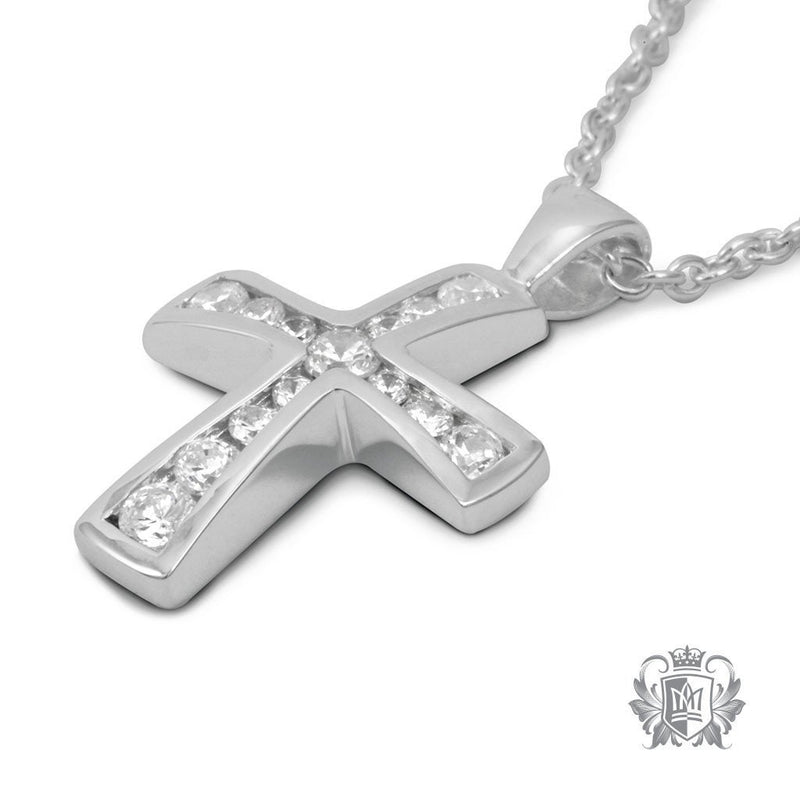 Channel Set Cubic Moderna Cross -  Gemstone Pendants - 2