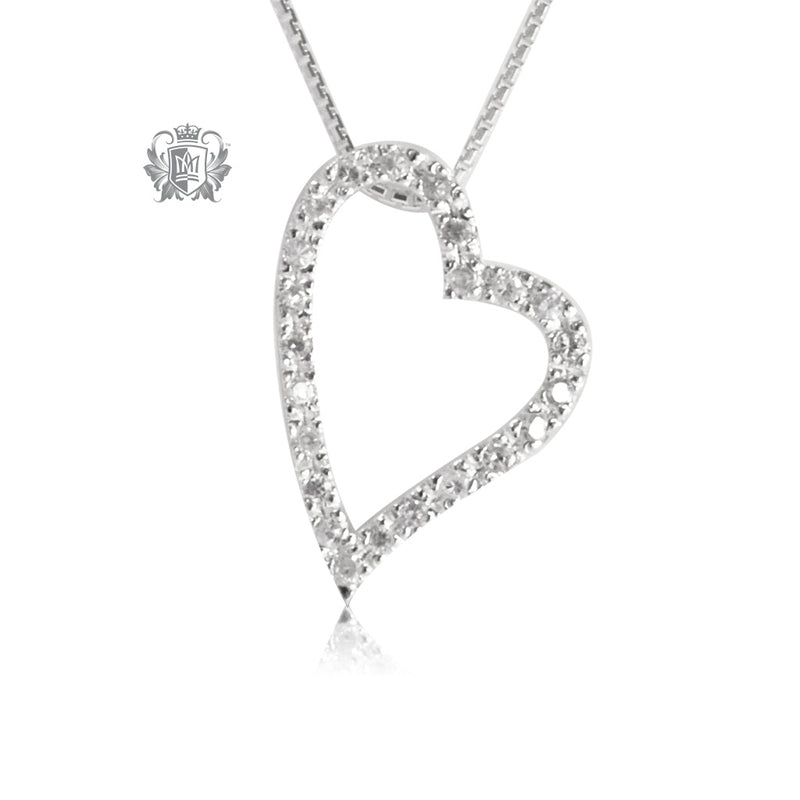 Metalsmiths Sterling Silver Sleek Pave Heart Pendant