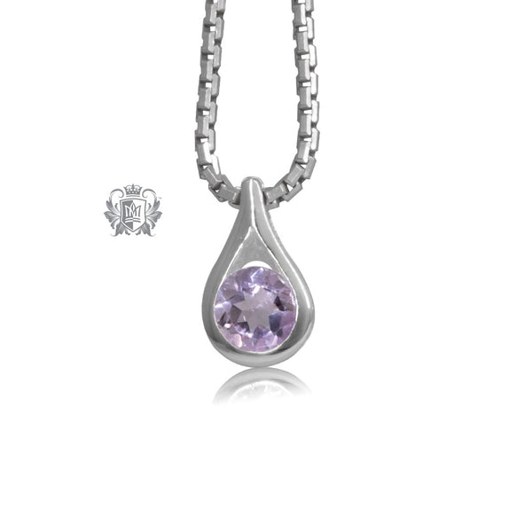 Sterling Silver Amethyst Cubic Pendant