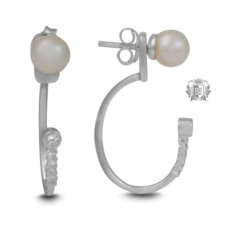 Elongated Hooped Ear Jackets with Freshwater Pearl Studs - Metalsmiths Sterling™ Canada