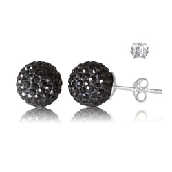 Black Austrian Crystal Shambhala Stud Earrings Sterling Silver