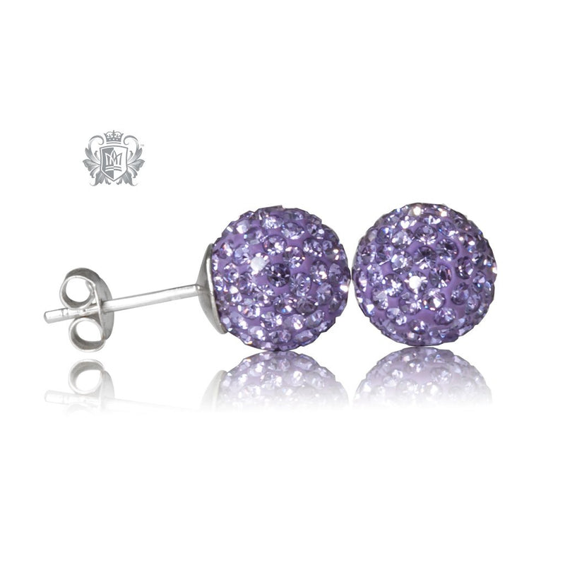 Lavender Austrian Crystal Shambhala Stud Earrings Sterling Silver