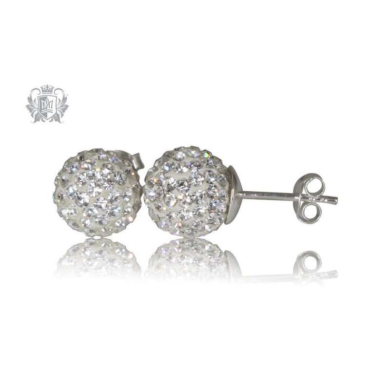 White Austrian Crystal Shambhala Stud Earrings Sterling Silver