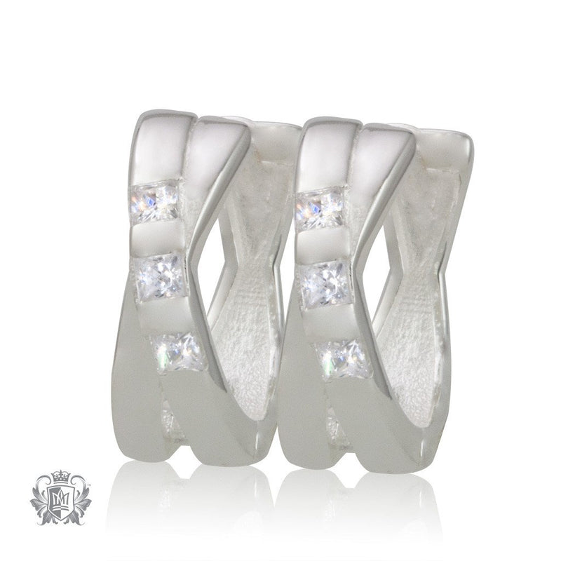 Metalsmiths Sterling Silver Crossover Huggies