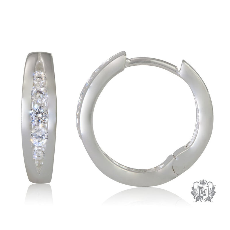 Sterling Silver Split Band Cubic Huggies (side) - Metalsmiths Sterling䋢 Canada