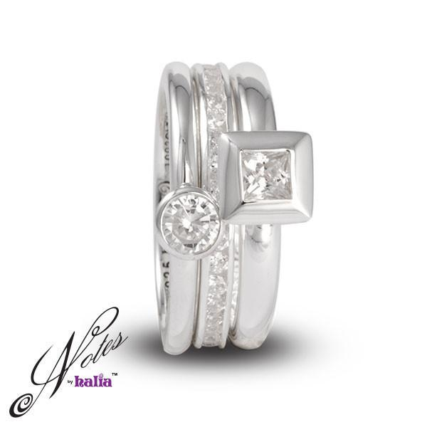 Dizzy Starlet Stacking Ring Set Sterling Silver Notes by Halia