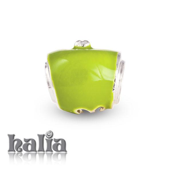 Green Apples -  Sterling Silver with Enamel Beads
