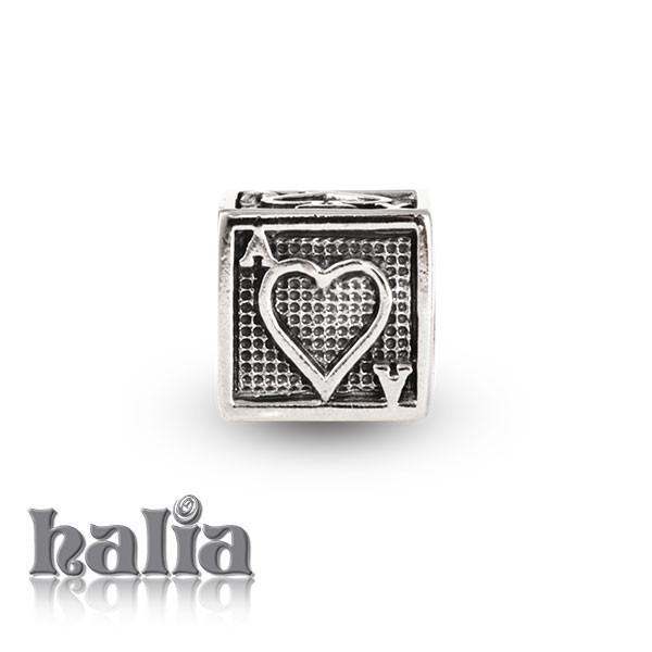 4 Ace Cube -  Sterling Silver Bead