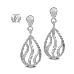 Pear Drop Studs with Diamonds - Metalsmiths Sterling™ Canada