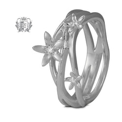Triple Band Flower Ring with Diamond Accents - Metalsmiths Sterling™ Canada