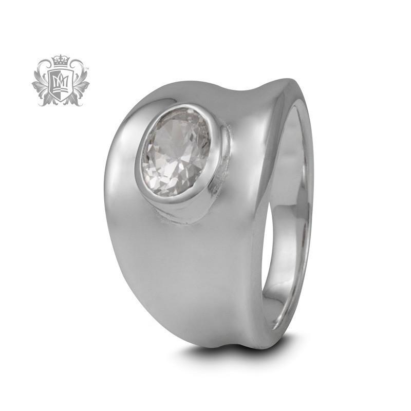 Tapered Oval Gemstone Ring - Metalsmiths Sterling™ Canada