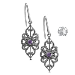 Amethyst Panos K Marquise Scroll Earrings Metalsmiths Sterling Silver
