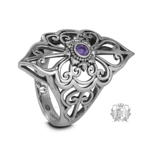 Amethyst Cubic Panos Konidas Scroll Ring Metalsmiths Sterling Silver
