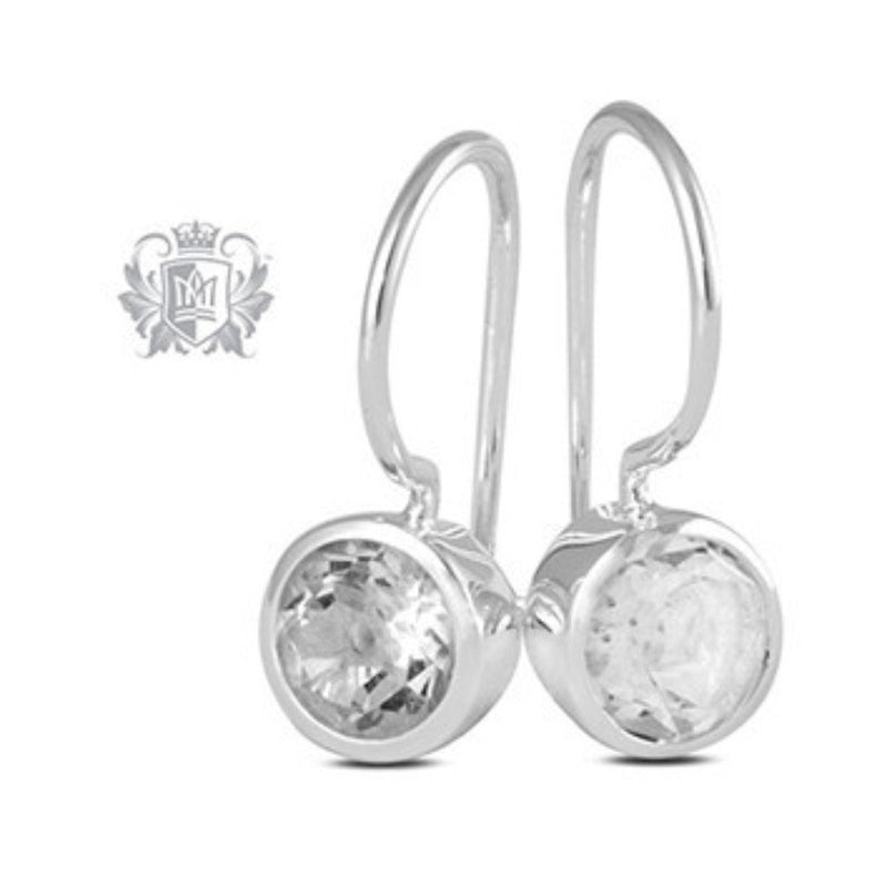 Cubic Round Bezel Hangers Sterling Silver