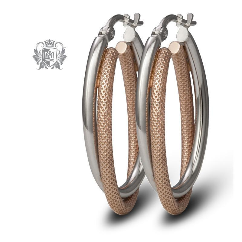 Dual Texture Hoops - Metalsmiths Sterling䋢 Canada