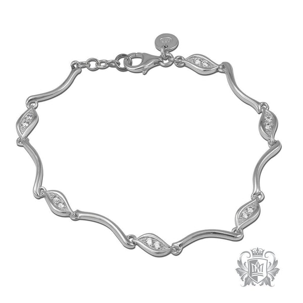 Two Stone Lobe Link Bracelet - Metalsmiths Sterling™ Canada