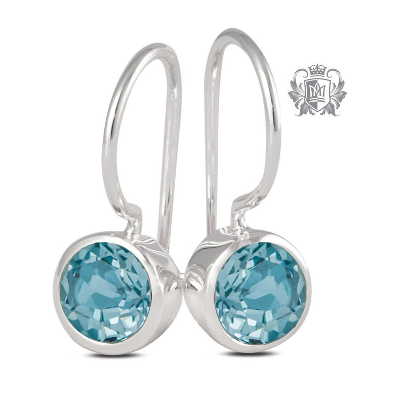 Blue Topaz Cubic Round Bezel Hangers Sterling Silver