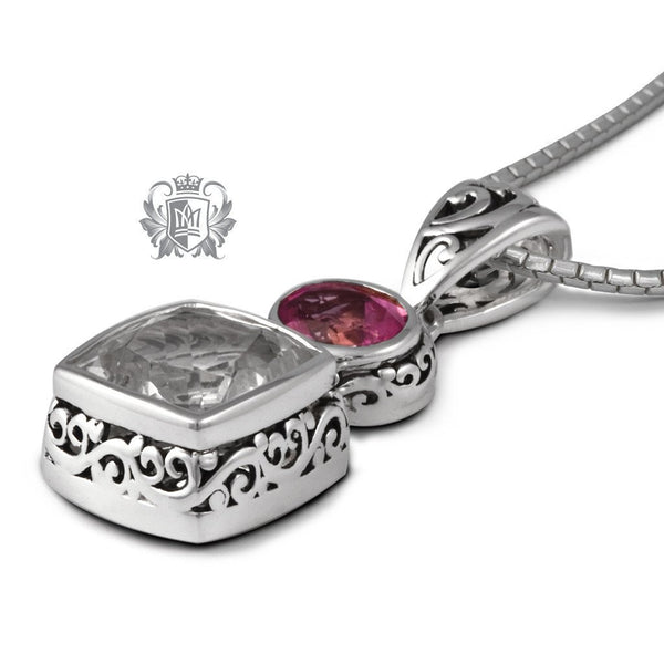 Rock Crystal & Pink Topaz Pendant - Metalsmiths Sterling'Ñ¢ Canada