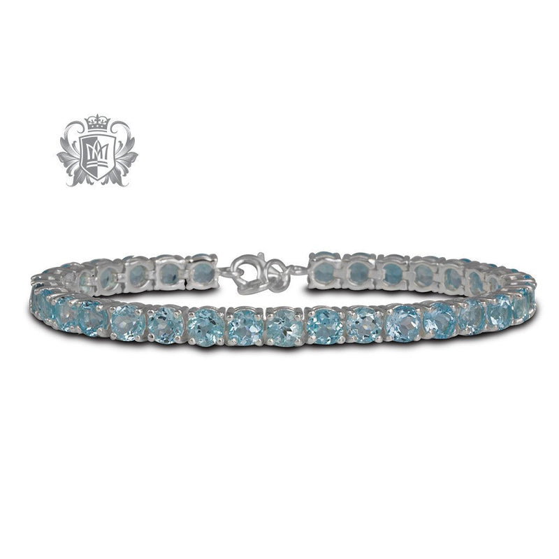 Blue Topaz Cubic Prong Set Gemstone Tennis Bracelet Sterling Silver