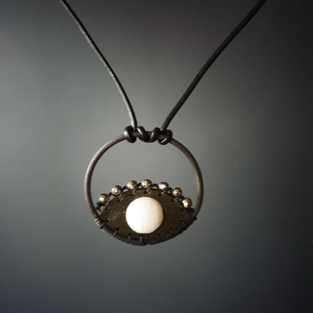 eye pendant | agate and pyrite
