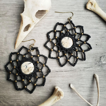 handmade black macrame mandala earrings chalcedony bronze