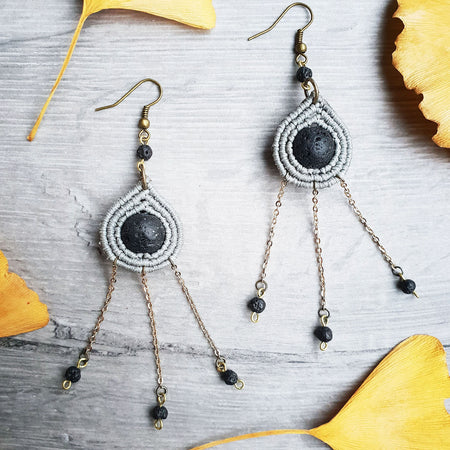 grey macrame teardrop earrings with lava stone dangles