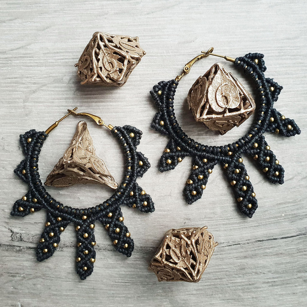 black sunburst macrame earrings with bronze beads