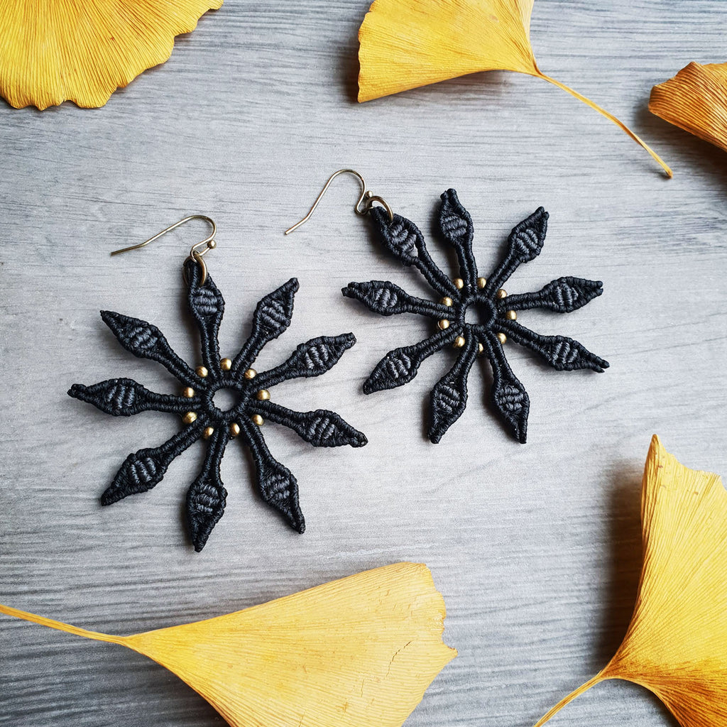black flower macrame earrings