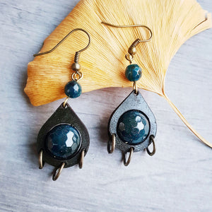 handmade leather teardrop earrings with blue faceted agate and bronze
