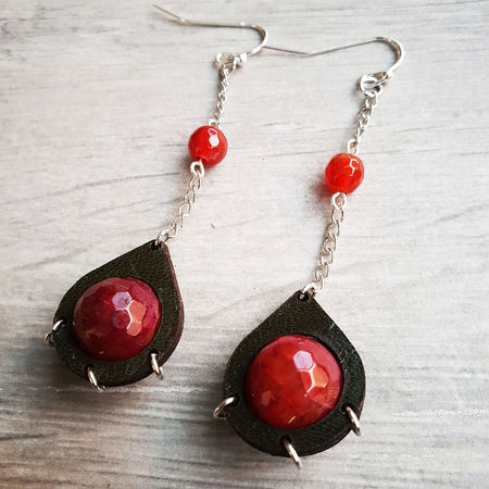 handmade leather teardrop earrings with red faceted agate and silver