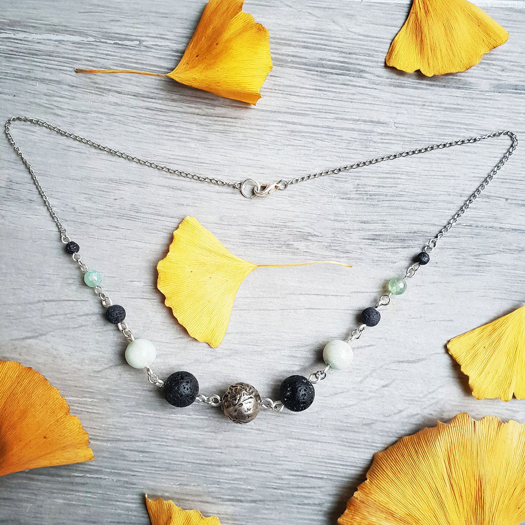 beaded chain necklace graduated silver aventurine lava stone beads