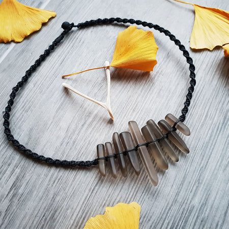 black macrame matte smoky glass crystal choker necklace