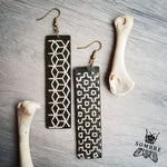 handmade leather statement earrings with sashiko embroidery