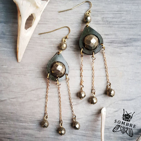 handmade leather teardrop earrings with pyrite