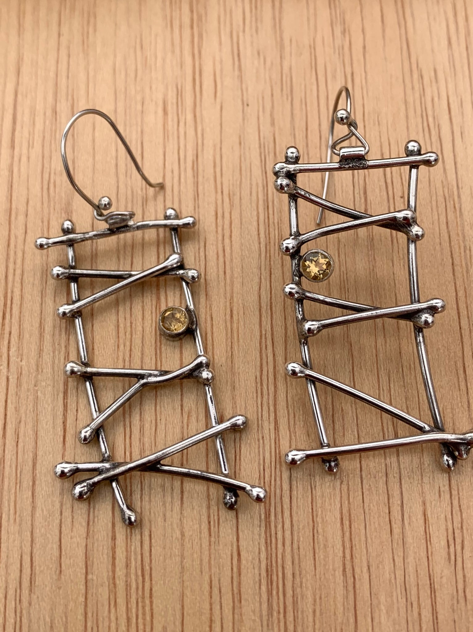 Ladder Silver Earrings with Topaz