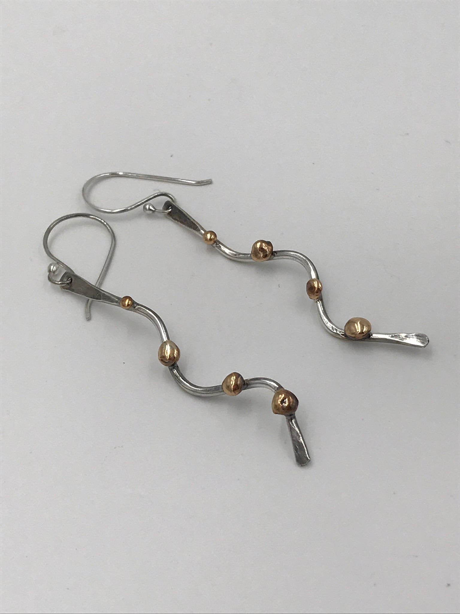 Silver Swivel Earrings with Brass Nuggets