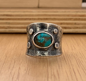 Turquoise silver cuff ring