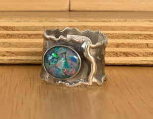 Mosaic opal and Silver Wrap Ring